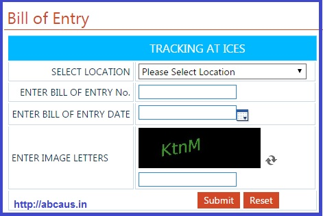Procedure-efiling custom ex-bond bill of entry at ICES