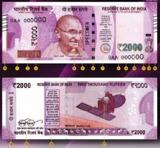 RBI new design 2000 Rupee bank notes features