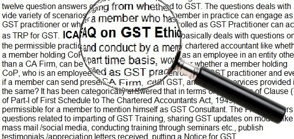 ICAI FAQs-Ethical issues on GST-CAs can not write himself as GST Consultant