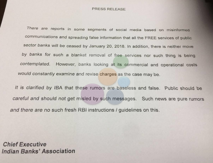 News on no free services by banks