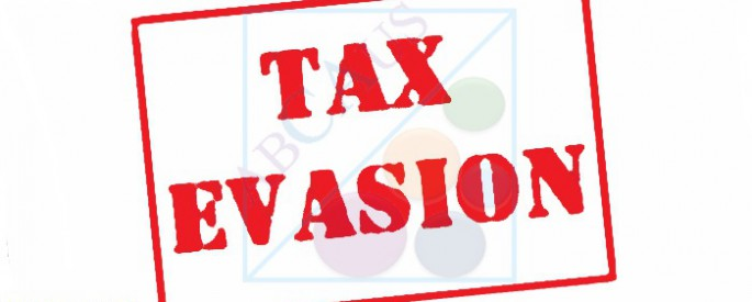 TAX EVASION red Rubber Stamp over a white background.